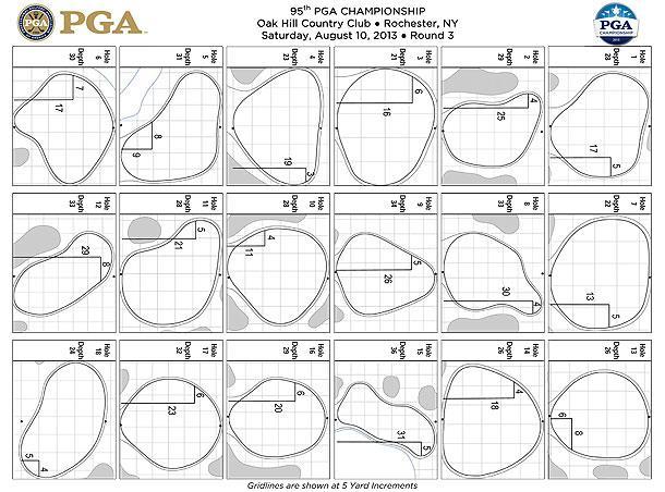 Saturday pin sheet for 2013 PGA Championship at Oak Hill
